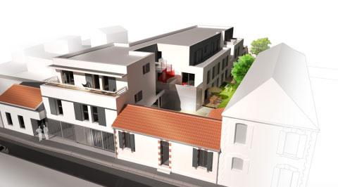 Construction de 21 logements et 2 commerces - vue aérienne