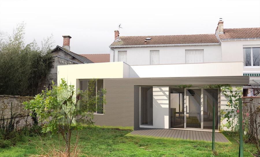 Ubik architectes extension c la rochelle 17 for Extension maison suite parentale