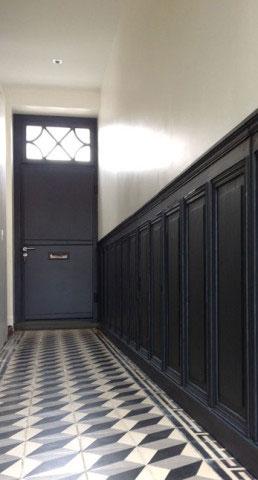 Maison ancienne UH, couloir d'entrée, carreaux de ciment