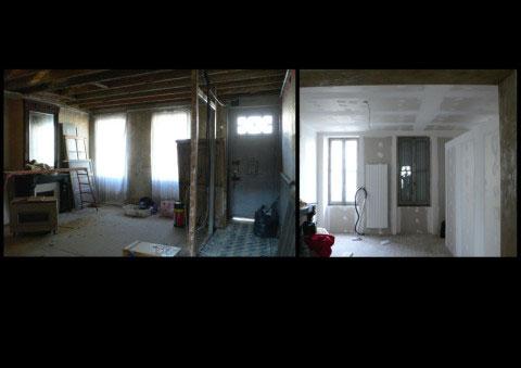 Maison ancienne UH, aménagement du salon - Rochefort-sur-Mer