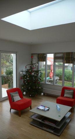 Maison B, intérieur de l'extension, éclairage zénithal - La Rochelle