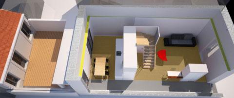 Projet d'architecte près de La Rochelle : rénovation et réaménagement d'une maison de ville, situé dans le centre ancien de Fouras.