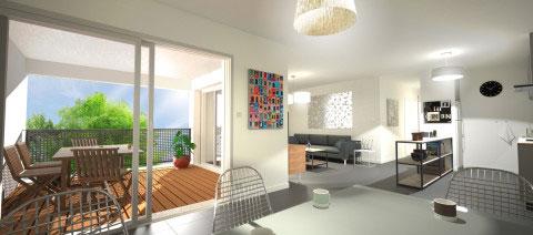 21 logements à la Rochelle - Perspective intérieure d'un appartement